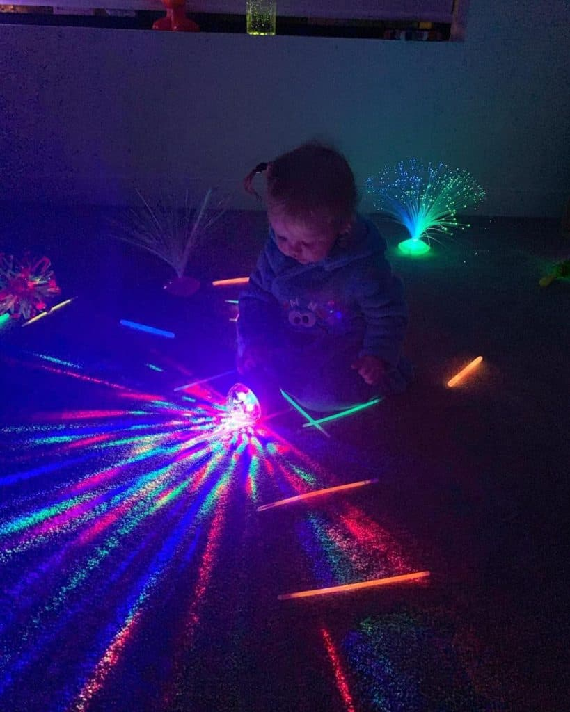 sensory neon lighting with a toddler