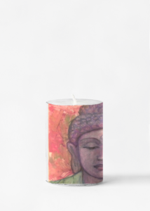 custom printed Buddah artwork candle